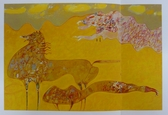 Michell Hwang, The Emperor's Dream, Horse, Abstract, Impressionistic, Golds, Yellows, Original Serigraph, Canvas, Hand-Painted