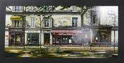 Thomas Pradzynski, Cafe de Paris, Parisian Street Scene, Antiques, Paris, Hotel Art, Restaurant Art, Corporate Art, Decor, Designer Art